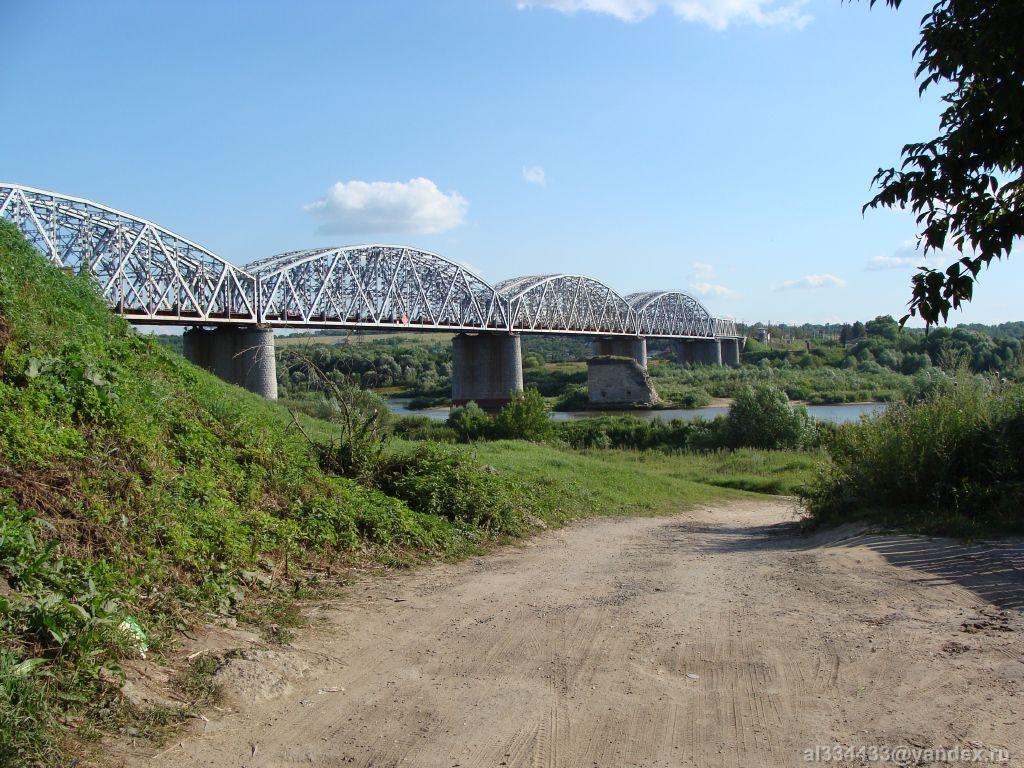 каширский железнодорожный мост над рекой ока фото